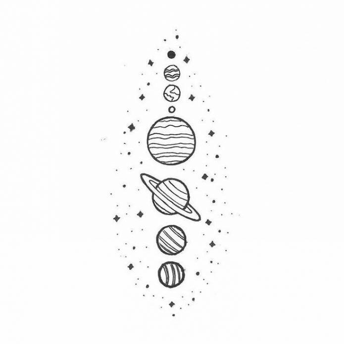 мини-тату чб эскиз планеты