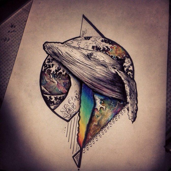 эскиз цветной тату космический кит