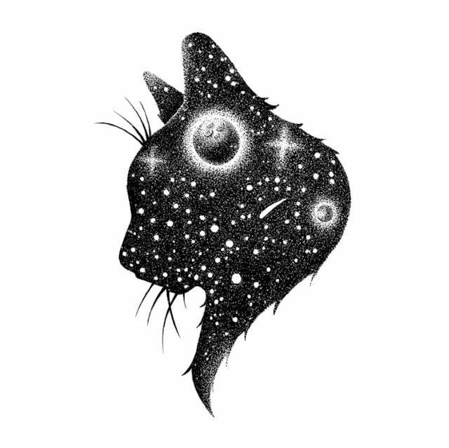 эскиз для тату чб космическая кошка