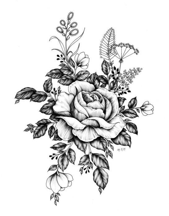 чб эскиз тату цветы