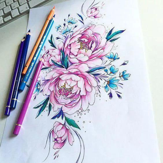 эскиз в цвете пионы тату