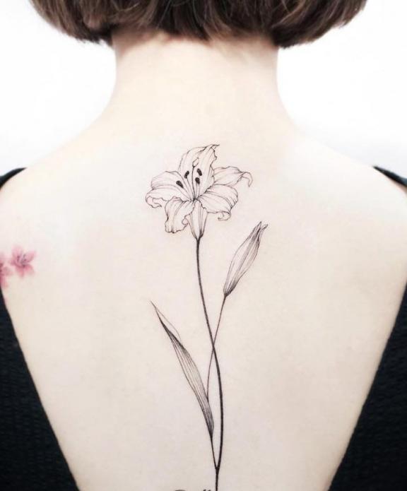 тату на спине чёрно-белое, цветок