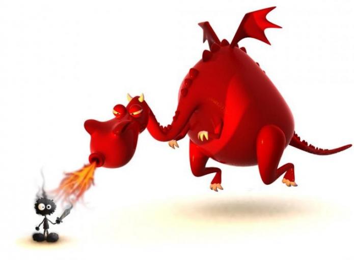 Дракон дышит огнём на рыцаря