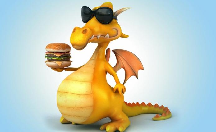 Дракон с гамбургером