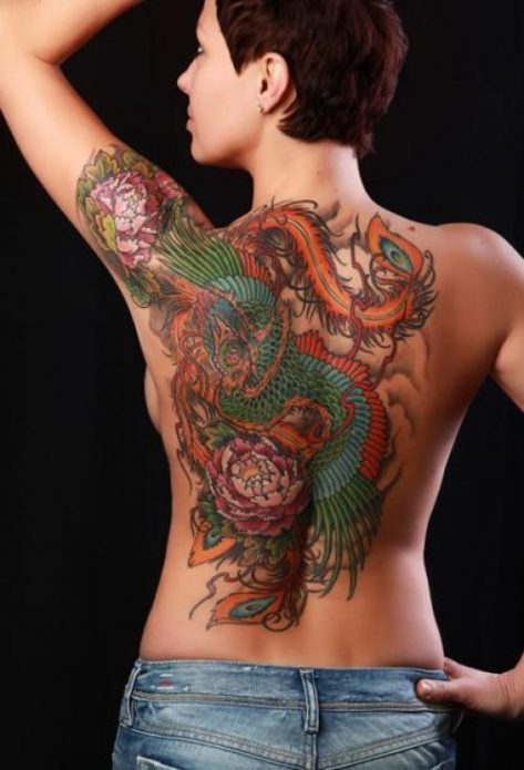 японская татуировка на спине в цвете