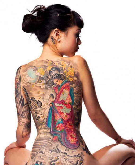 японская татуировка цветная фото