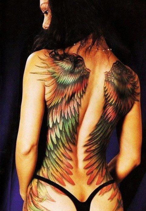 крылья в цвете тату на всю спину женское