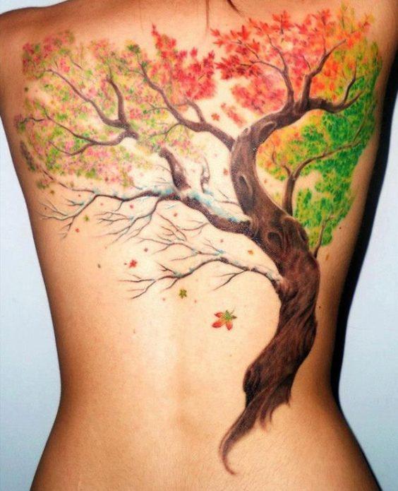 реалистичное дерево тату на всю спину