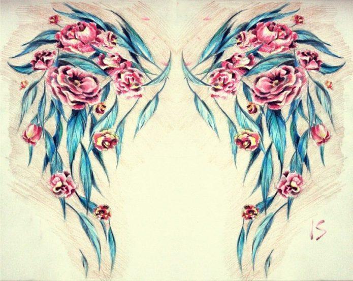 цветной эскиз крылья и цветы