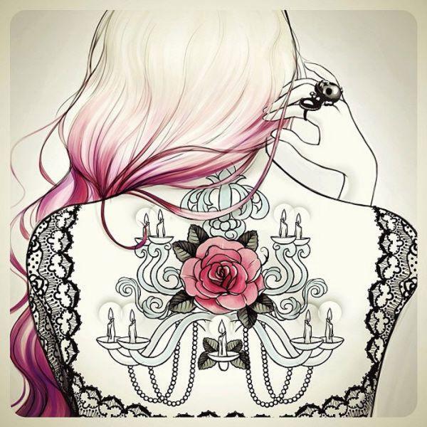 модный эскиз для девушек на спину роза и свеч