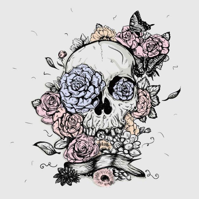 эскиз череп с цветами модное тату