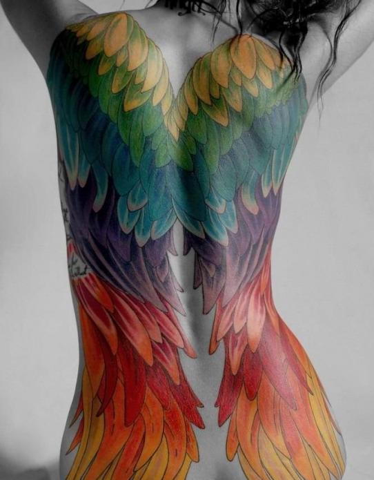 радужные крылья во всю спину тату