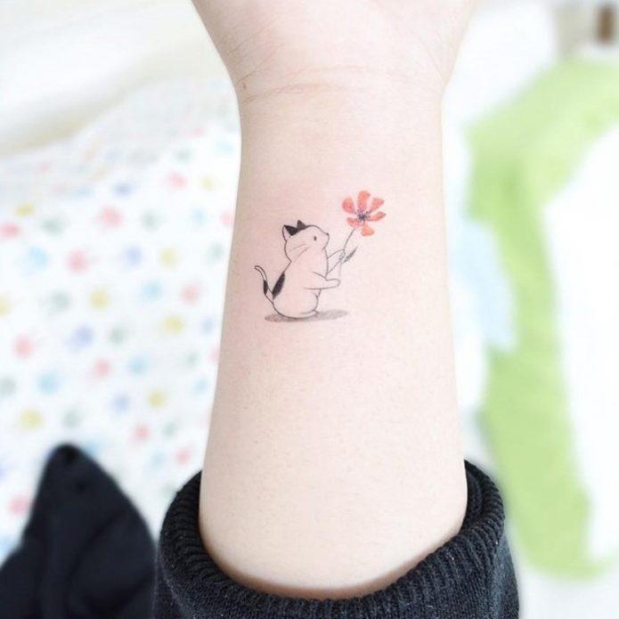 мини-тату котик и цветок для девушек