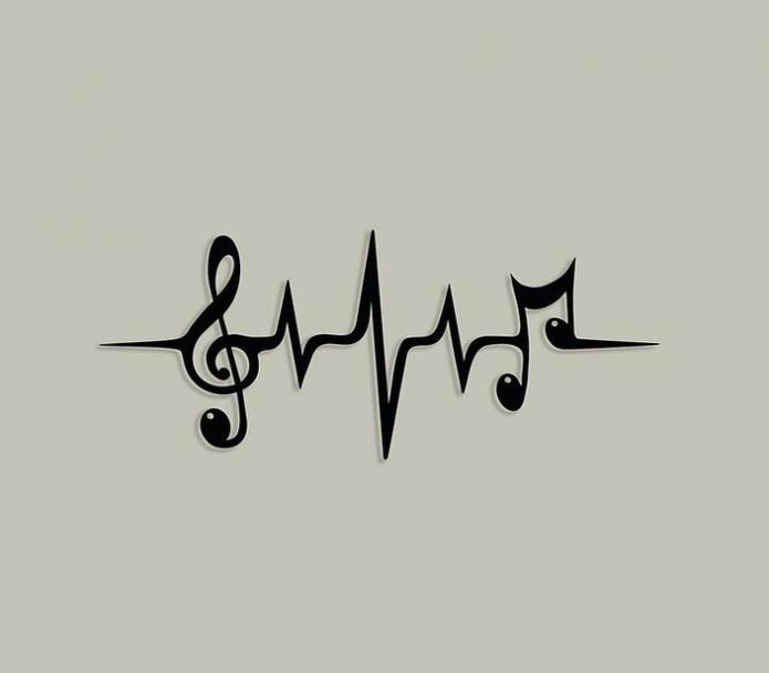 эскиз музыка кардиограмма мини тату