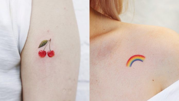 небольшие татушки для девушек, вишенки, радуга