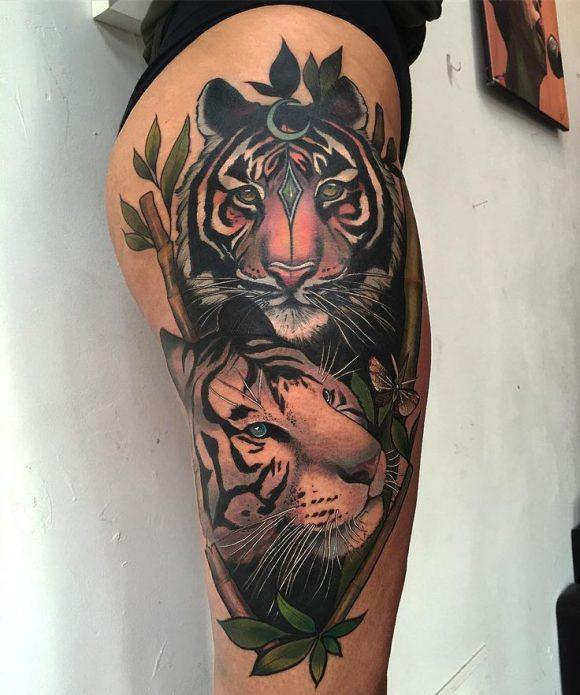 Тигры тату на бедре для девушек