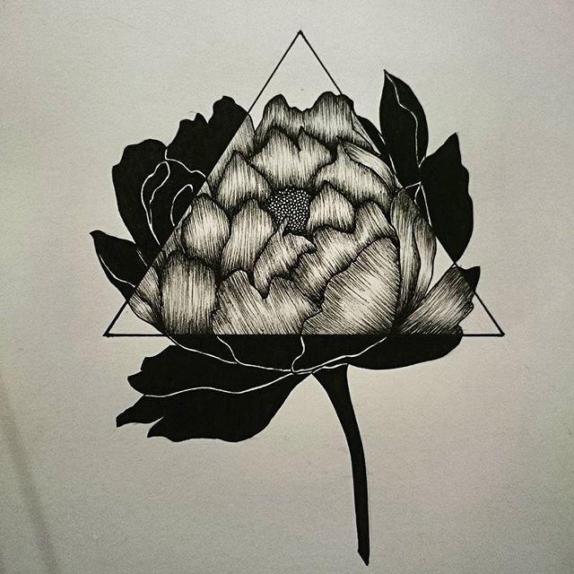 Блэкворк роза тату