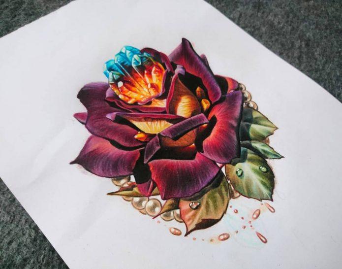 Цветной реализм роза тату