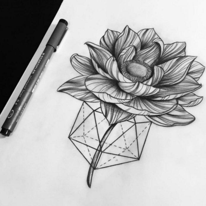 Лайнворк эскиз цветка тату