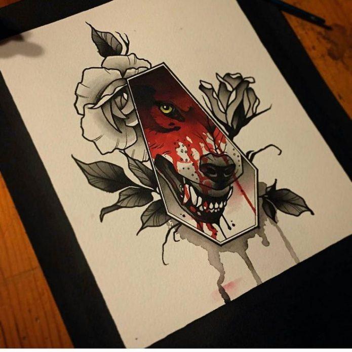 Эскиз нео традишнл волк и роза тату