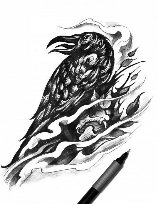 Блэкворк эскиз ворона тату на бедре для девушек
