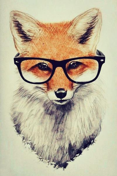 эскиз для девушек лиса в очках, арт, тату