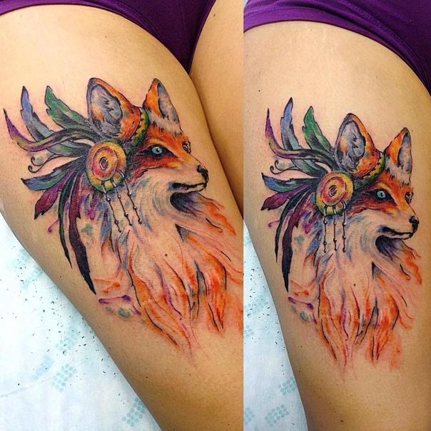 тату лисица большое на бедре, женская татуировка лиса