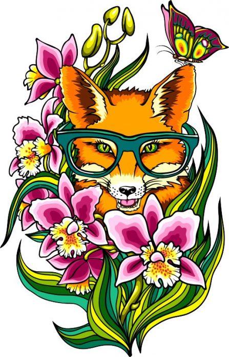 эскиз тату для девушек лиса в цветах
