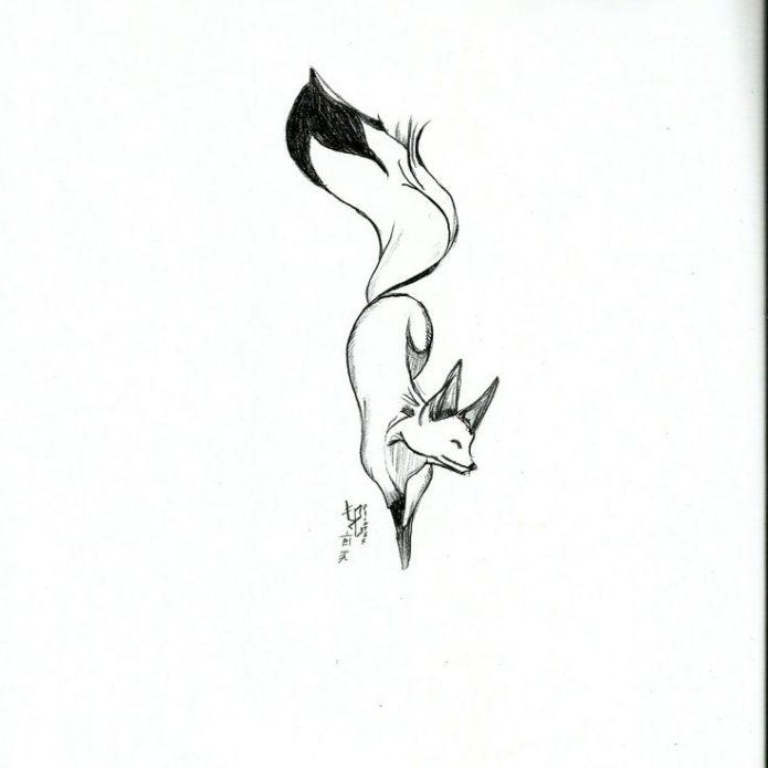 контурный эскиз лисица для женской тату