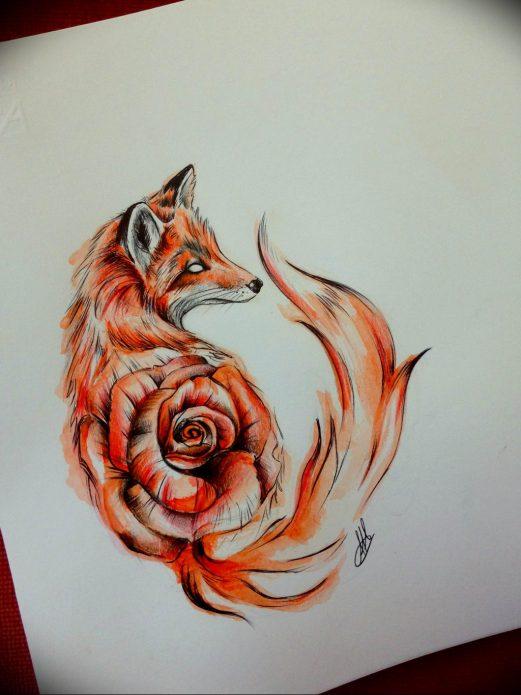эскиз лисица, роза для девушек
