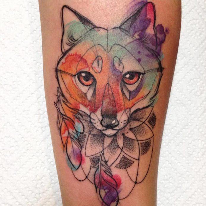 акварельная татуировка лисица, геометрия