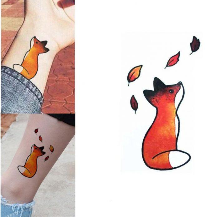 мини тату лисичка для девушек, милые татуировки