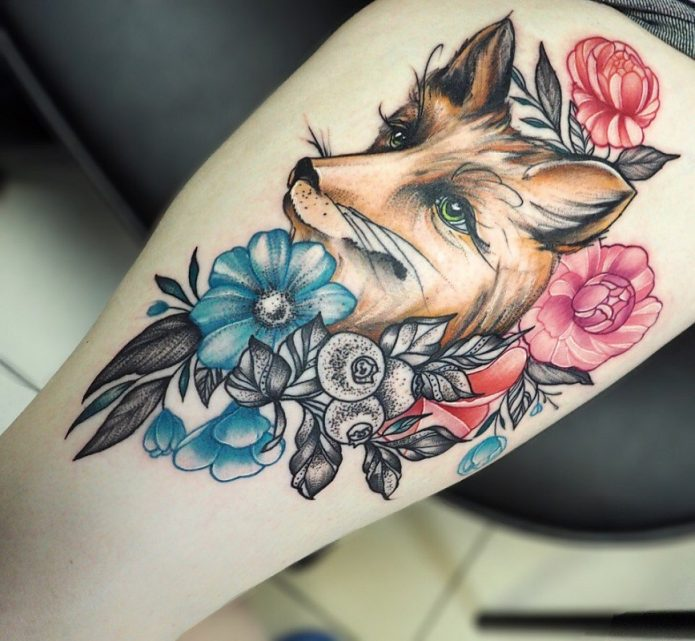 тату лица в цветах цветное, женские эскизы