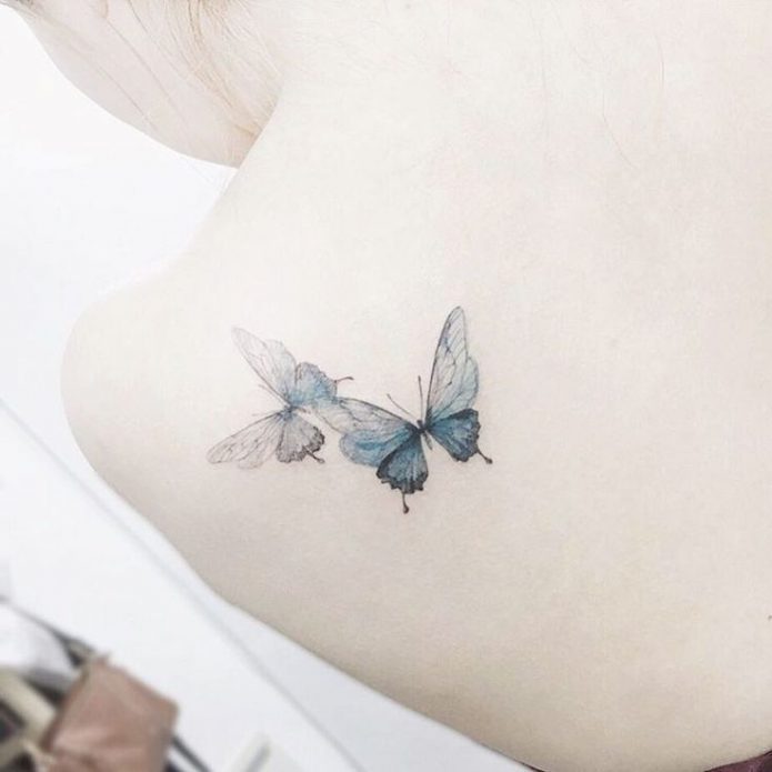 Тату бабочка на спине