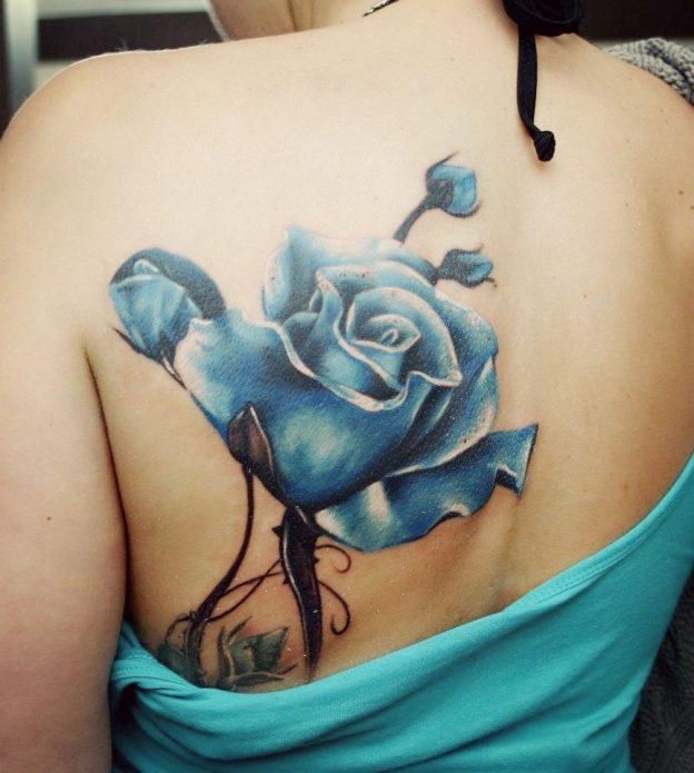Тату синяя роза