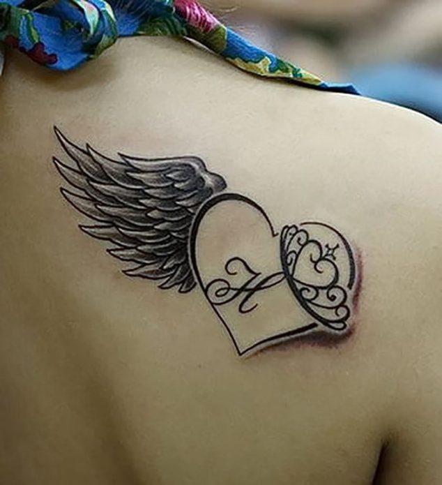 Сердце с крылом тату