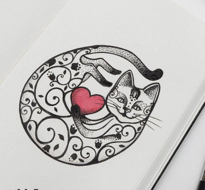 эскиз для тату, милый котик