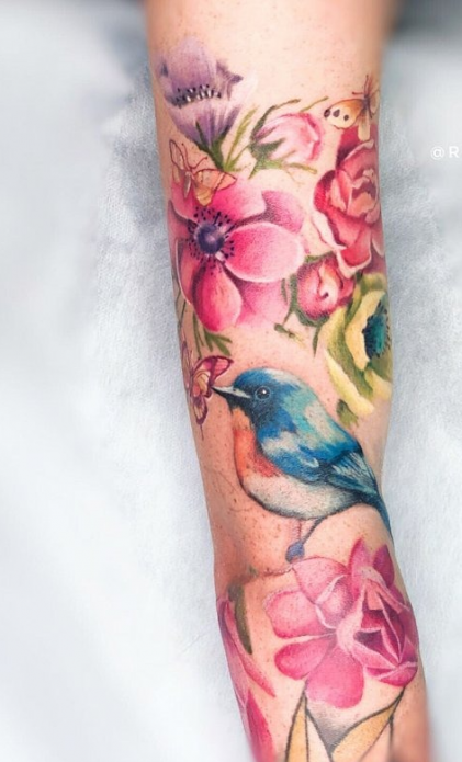 тату акварельные на руку, птичка и цветы