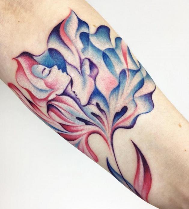 акварельная абстракция тату на руке