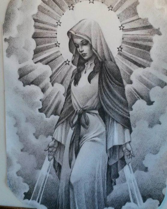 Эскиз тату ангел