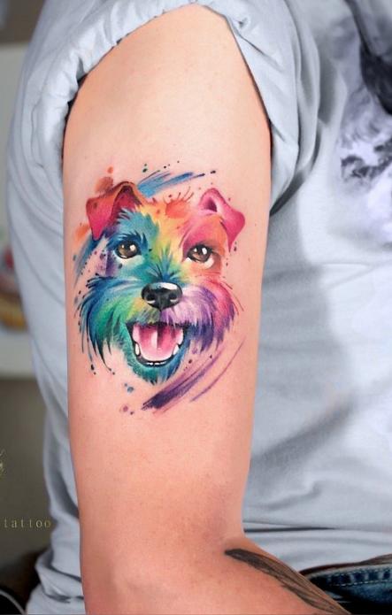 акварельная татуировка на плече, тату собака