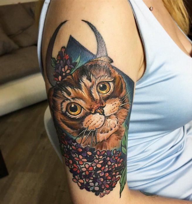 необычное тату, кот, иллюстрация, тату на плечо