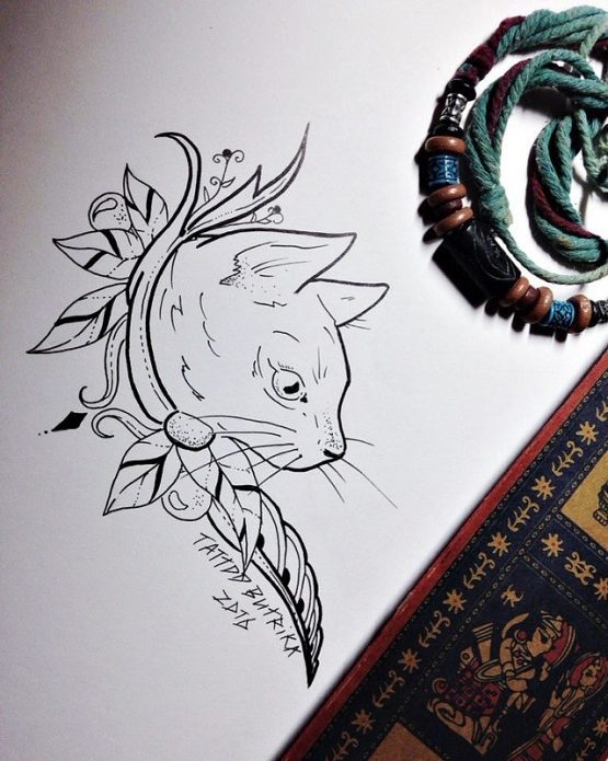 эскиз на плечо кот