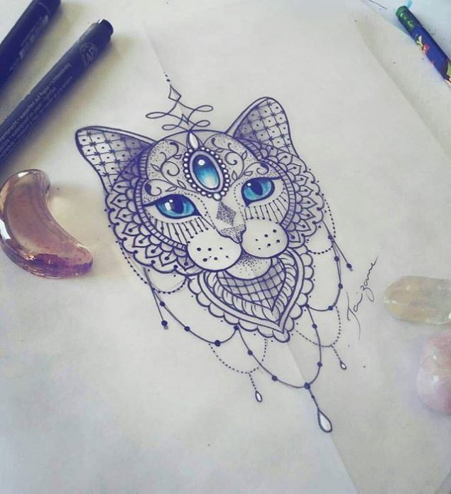 эскиз тату узор, кошка для девушек
