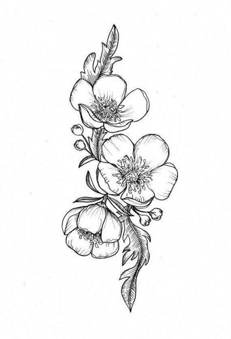 эскиз чб цветы, женские эскизы