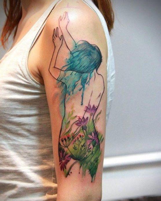 акварельный силуэт на плече, крутые татуировки