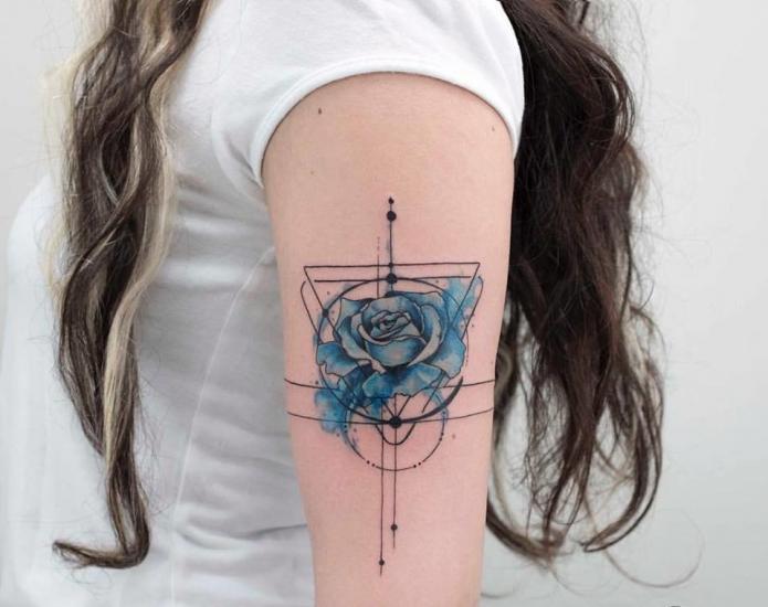 синяя роза тату, акварель + геометрия