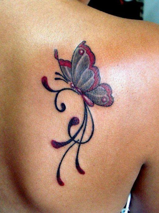 тату бабочка на лопатке, эскизы для девушек