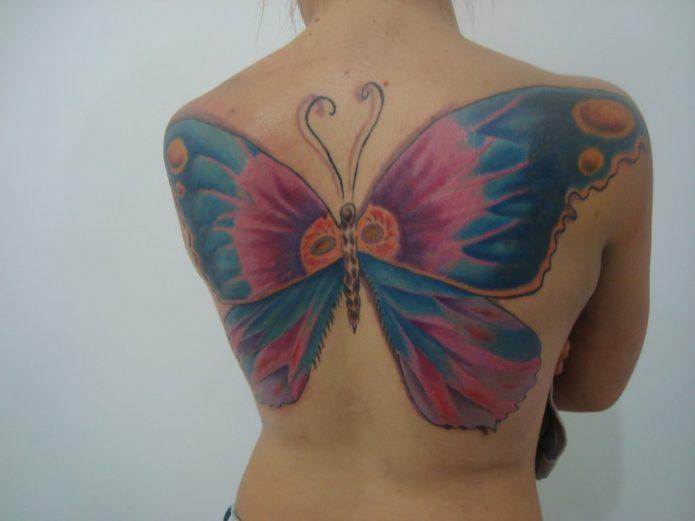 тату бабочка во всю спину, тату для девушек