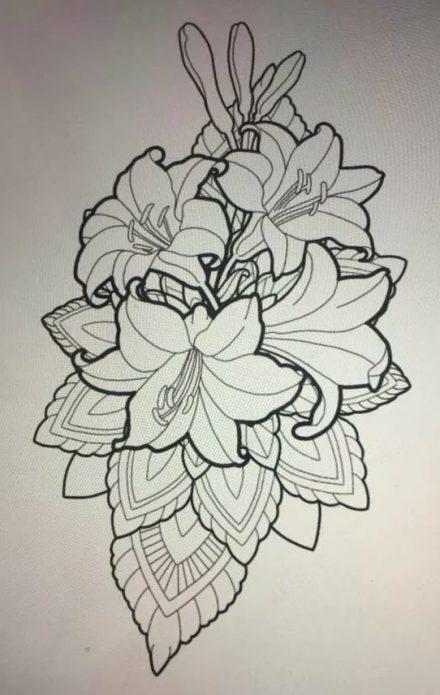Эскиз с лилиями